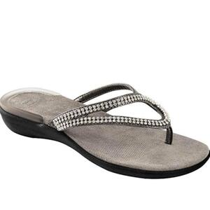 DR. SCHOLL CIABATTE DONNA INFRADITO CON PERLINE E STRASS LULU PEWTER-ARGENTO